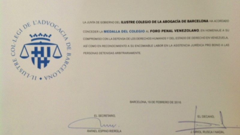 Colegio de Abogados de Barcelona, España otorga Premio al Foro Penal