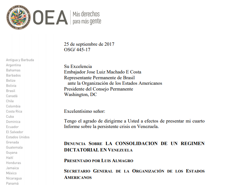 OAS: Fourth Report on the Persistent Crisis in Venezuela
