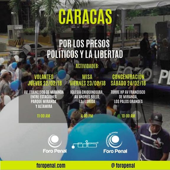 Foro Penal emprende campaña de concientización en las calles de Venezuela sobre los presos y perseguidos políticos. Caracas 24 de febrero de 2018.
