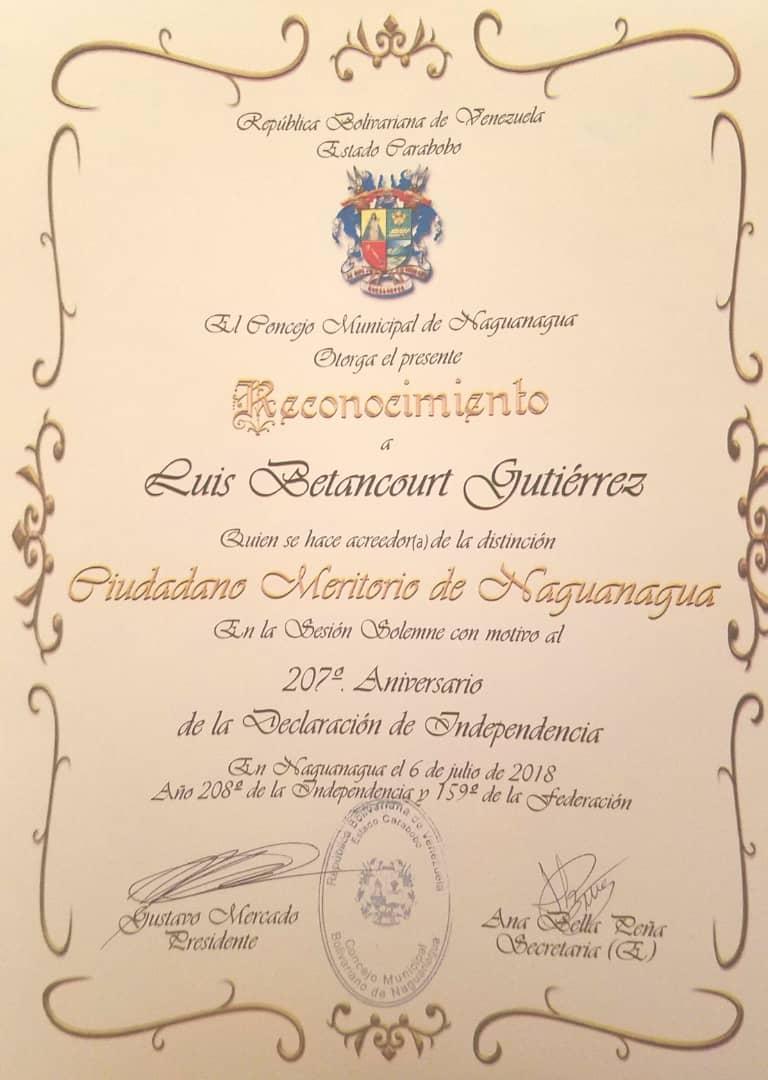 Coordinador Foro Penal Carabobo: Ciudadano Meritorio de Naguanagua