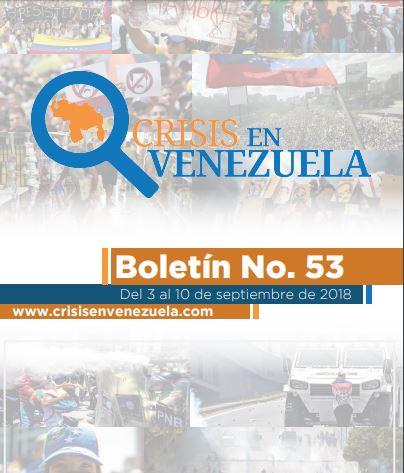 Crisis en Venezuela. Boletín No. 53- Del 3 al 10 de septiembre de 2018