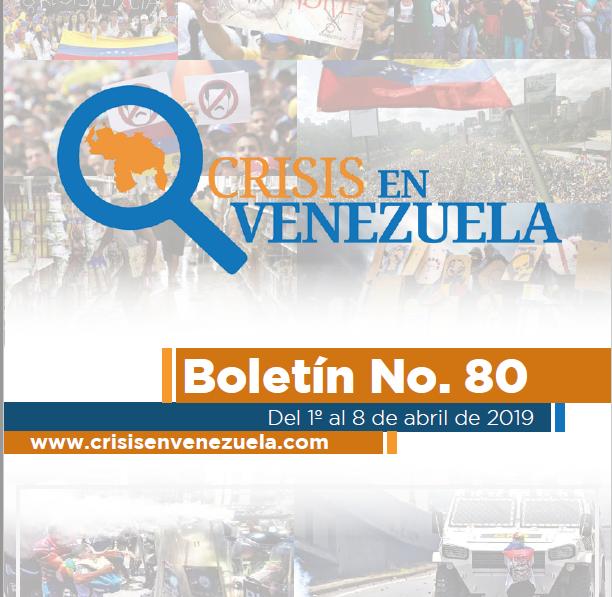 Crisis en Venezuela. Boletín No.80. Del 01 al 08 de Abril de 2019