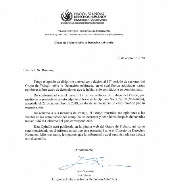 Opinión #81/2019, relativa a CARLOS ARISTIMUÑO -Grupo de Detenciones Arbitrarias