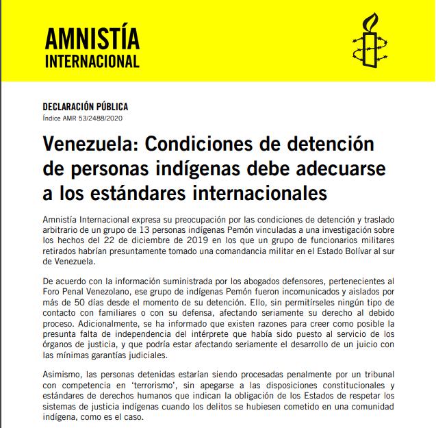 AMNISTIA INTERNACIONAL «VENEZUELA: CONDICIONES DE DETENCIÓN DE PERSONAS INDÍGENAS»