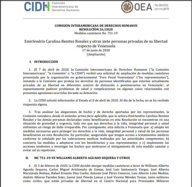 RESOLUCIÓN 26/2020 Medidas cautelares No. 751-19 Emirlendris Benitez y otros siete Privados de Libertad