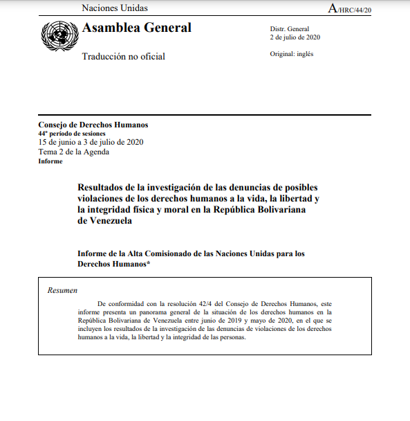 Informe de la Alta Comisionado de las Naciones Unidas para los Derechos Humanos Venezuela- 2-Jul-2020