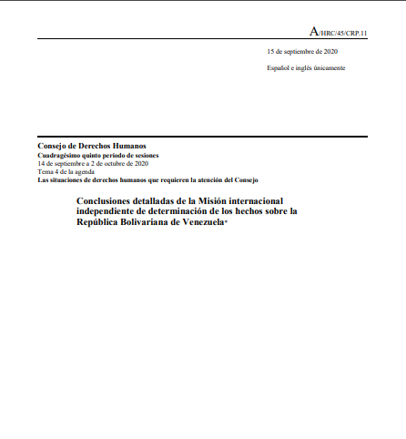 Conclusiones de la Misión internacional independiente de determinación de los hechos sobre la República Bolivariana de Venezuela. 15-09-2020