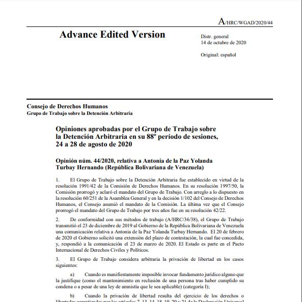 Opinión #44/2020, relativa a ANTONIA DE LA PAZ TURBAY -Grupo de Detenciones Arbitrarias